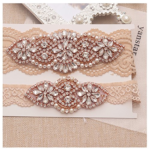 Yanstar Wedding Bridal Garter Set White Champange Navy Lace For Bridal Accessories Rhinestone Garter Lace …