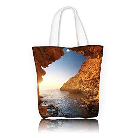 fe44a65f17 canvas tote bag —W15 x H14 x D4.7 INCH Casual Top Handle Bag Crossbody  Shoulder Bag Purse Seaside Decor Sunset in Pacific Paradise Ocean Cave with  Morning ...