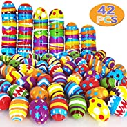heytech 42 Pcs Easter Eggs Plastic Printed Bright Easter Eggs 2 3/8