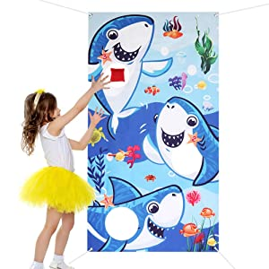 Shark Toss Game with 3 Bean Bags - Little Shark Birthday Party Favor Supplies Bean Bag Toss Games Party Games Activities for Kids Adults Shark Theme Party, Baby Shower, Pool Party Classroom Games