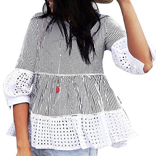 Chicwish Women's Black Stripes Contrast Ruffle Shirt Blouse Top with Eyelet Cuffs and - Out Cut Eyelet
