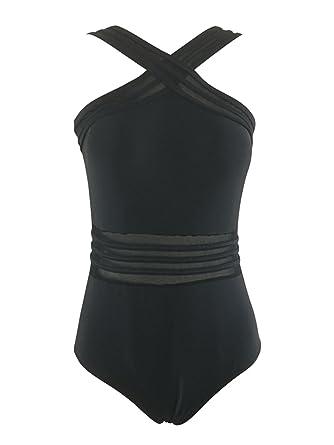 e1bcc270b2 Zando Womens Black One Piece Bathing Suit Front Criss Cross Swimming Suit  Mesh Swimsuit for Women