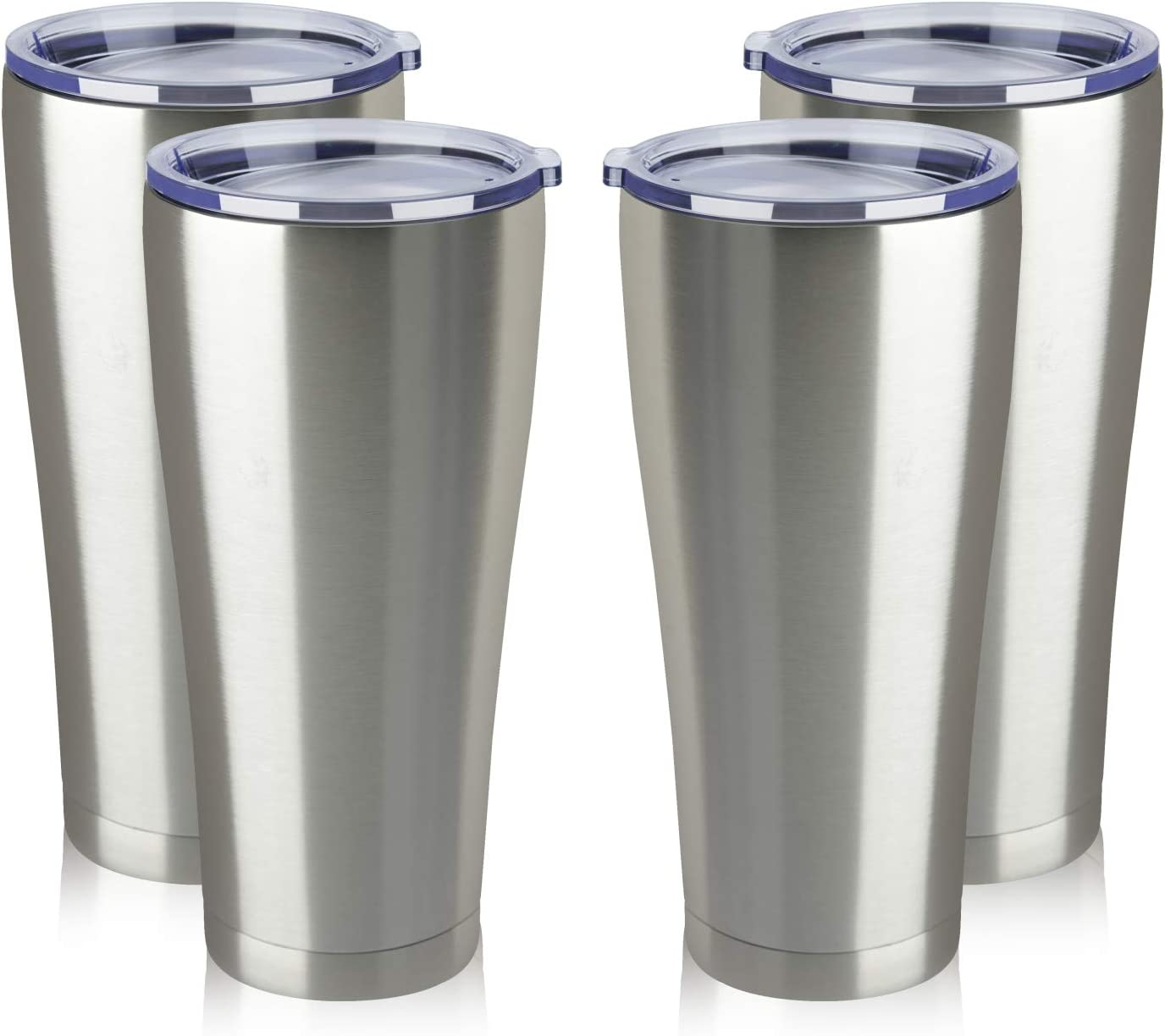 MEWAY 32oz Coffee Tumblers Bulk 4 Pack Vacuum Insulated Cups,Double Wall Stainless Steel Tumbler with Lid,Powder Coated Coffee Mugs for Ice Drink and Hot Beverage (Silver,Set of 4)