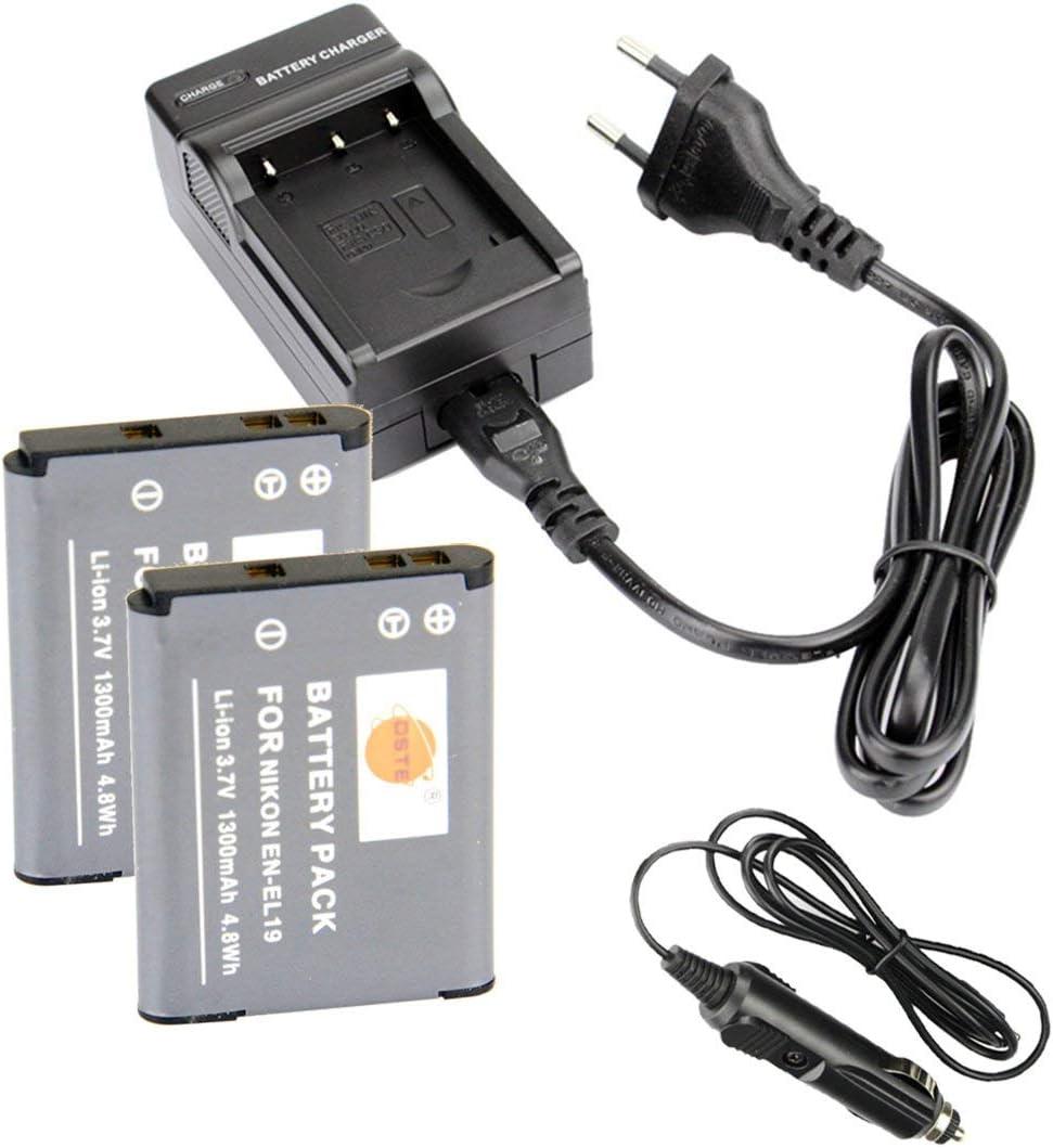 DSTE 2-Pieza Repuesto Batería y DC109E Viaje Cargador kit para Nikon EN-EL19Coolpix S100S2500S2600S2700S2750S3100S3200S3300S3400S3500S4100S4150S4200S4300S4400