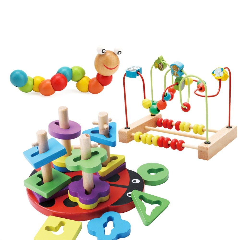 Siyushop Ball Labyrinth Toy Cute Insect Child Toy Wood Bead Roller Coaster Game (Rainbow Tower) ( Color : E )