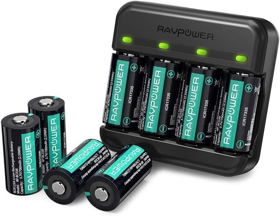 RAVPower Batería Recargable 8 Piezas 700mAh Cargador Arlo para cámaras de Seguridad inalámbricas Arlo VMC3030 VMK3200 VMS3330 3430 3530: Amazon.es: Electrónica