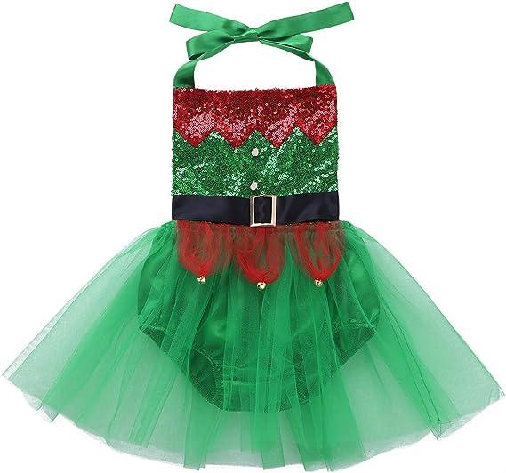 ranrann Vestido de Elfo Navidad para Bebé Niña Disfraz Duende ...