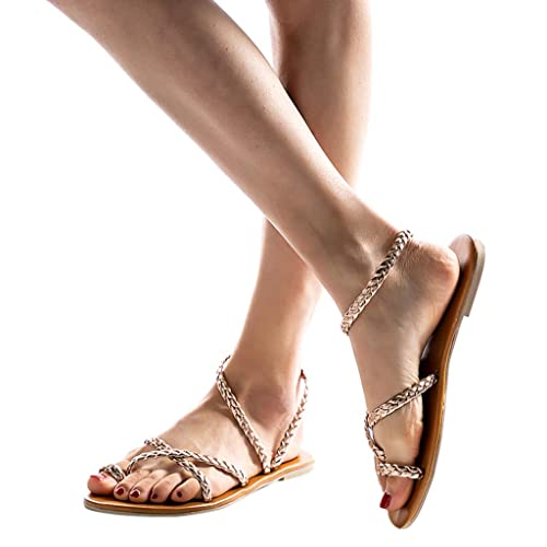 FALAIDUO Women s Sandals Ethnic Wind Woven Flat Shoes Beach Shoes Roman Sandals  Ladies Spring Summer Woven 12b72a04e892