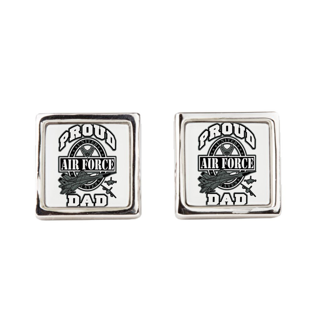 Royal Lion Cufflinks Proud Air Force Dad Jets Square