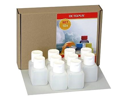 10 botellas de plástico de Octopus de 50 ml, botellas de plástico de HDPE con