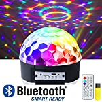 ihoven Disco Ball Party Lights, 9 Colors Rotating LED Disco Stage DJ Lights Crystal Magic Light Projector Sound Activated for KTV Xmas Wedding Club Karaoke Lighting Show with Remote Control (Black) by ihoven