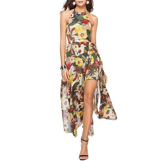 e9de51d3b iBaste Boho Vestido Largo Hendiduras Mujer Flores Impresas Sin Espalda Vestidos  Playa de Gasa Cuello Colgado Maxi Dress  Amazon.es  Ropa y accesorios