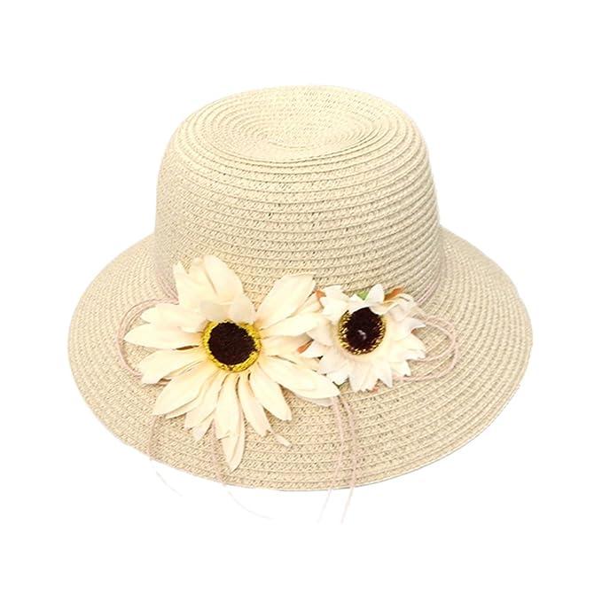 cc1863a892a75 Demarkt Faltbarer Strohhut Sommerhut Strandhut Sonnenhut Strand  Sonnenschutz Hut mit Blumen Deko Beige