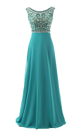 PROMNOVAS Womens Scoop Neckline Beaded Prom Gowns Long