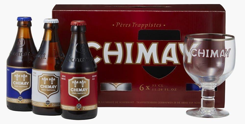 CHIMAY(シメイ)赤・白・青のビール3本セット グラス付き
