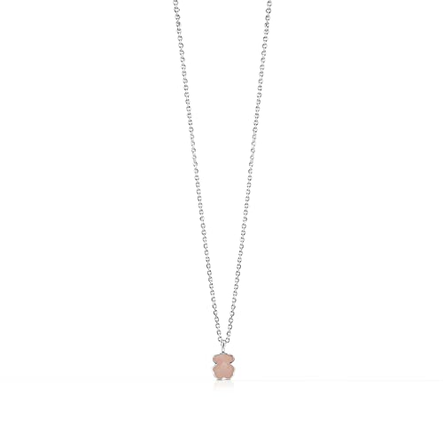 60cee499f4e0 TOUS Gargantilla de Plata para mujer con diseño de Oso en cuarzo rosa  facetado  Amazon.es  Joyería