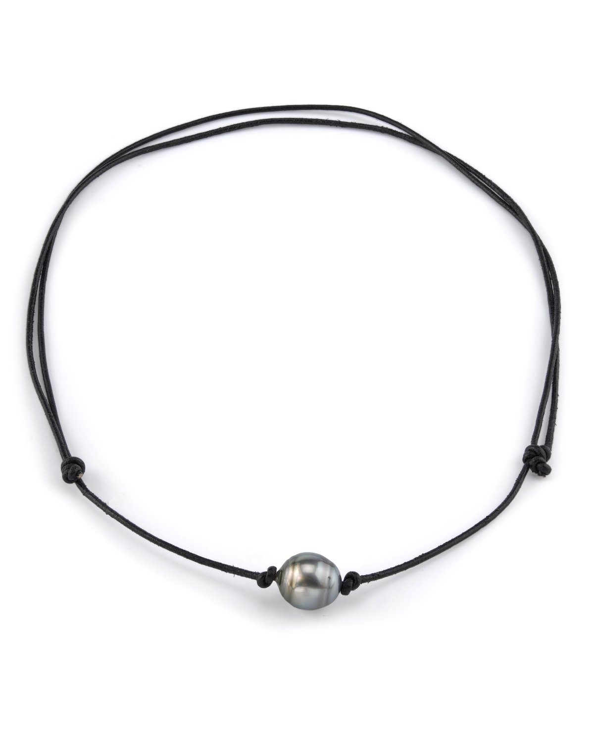 10-11mm Tahitian Baroque Cultured Pearl Leather Adjustable Necklace