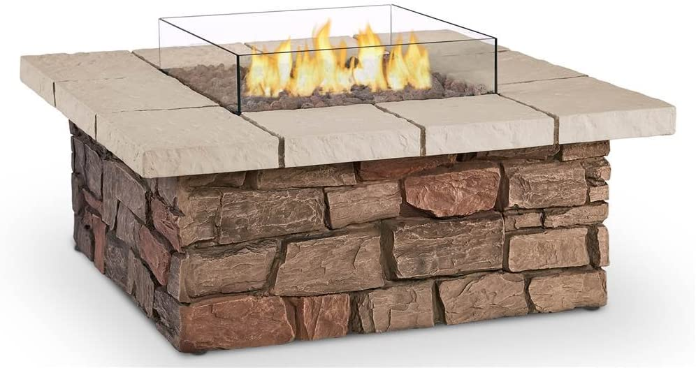 B0797DTP9Q Real Flame C11811LP-BF Sedona Square Propane/Natural Gas Fire Table, Buff 61gqaelSdcL