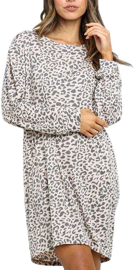 WINWINTOM Vestidos Mujer Casual Cuello en O Manga Larga Estampado de Leopardo Vestidos Cortos 2020 Vestido de Noche de Coctel de Fiesta en Oferta Falda Ropa: Amazon ...