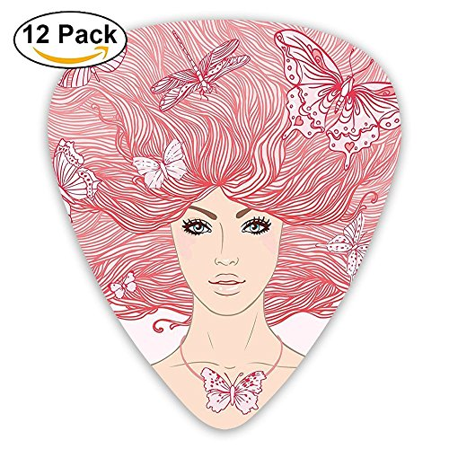 Newfood Ss Sketchy Hand Drawn Girl With Butterflies In Her Long Pink Hair Guitar Picks 12/Pack Set