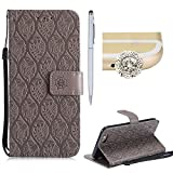 iphone 6 protective sheet - For iPhone 6S Plus Leather Case,SKYXD Elegant Wallet Shell Retro Solid Color Embossed Leaves Floral Pattern Flip TPU Magnetic Closure Card Slots Cover For iPhone 6 Plus/6S Plus 5.5 Inch,Grey