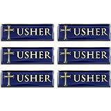 Gold Tone and Blue Enamel Metal Magnetic Badge for Church Volunteer or Elder, 3 Inch (Pack of 6, Usher)