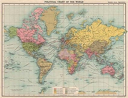 Imperio Británico Francés Alemán Holandés Portugués Colonias Old Map – diseño envejecido Vintage