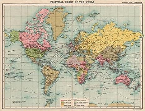 Mundo Político. Imperio Británico Francés Alemán Holandés Portugués Colonias Old Map - diseño envejecido Vintage - 1911 Mapas del Mundo: Amazon.es: Hogar