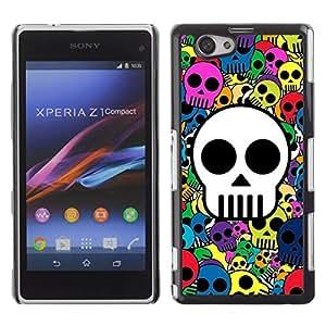 Qstar Arte & diseño plástico duro Fundas Cover Cubre Hard Case Cover para Sony Xperia Z1 Compact / Z1 Mini / D5503 ( Skull Wallpaper Colorful Pirate Drawing)