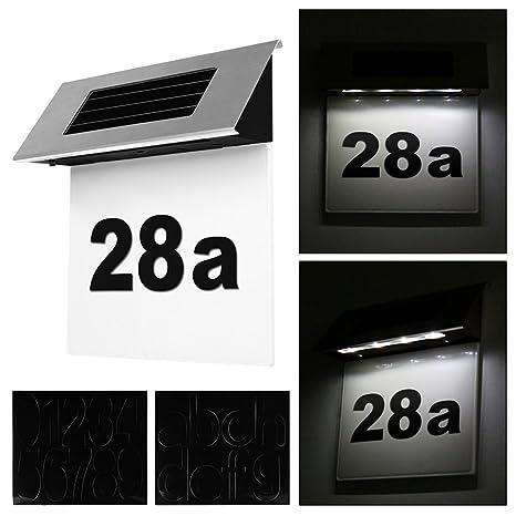 IP44 Wasserdicht Einschlie/ßlich Nummern 0-9 /& Buchstaben A-G Lichtsensor FORNORM Solar Beleuchtete Hausnummer mit 4 LED Beleuchtung Cool Wei/ß 6000K 1PCS Hausnummernleuchte Solar