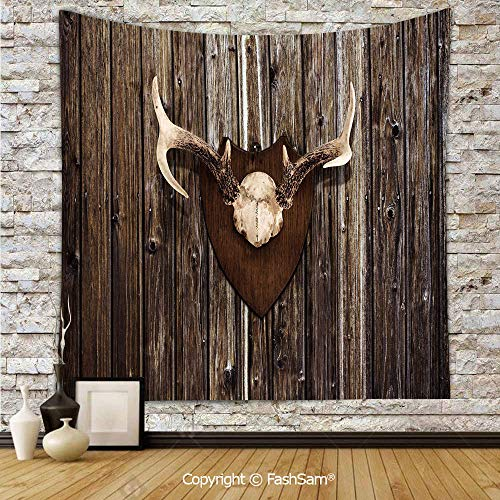 FashSam Hanging Tapestries Rustic Home Cottage Cabin Wall with Antlers Hunting Lodge Country House Trophy Decorative Wall Blanket for Living Room Dorm Decor(W59xL90)