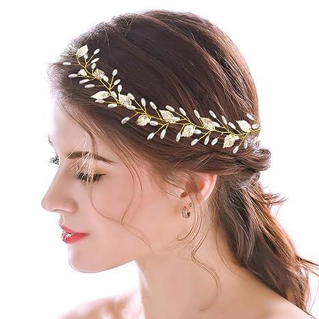 handcess novia diadema pelo Vine para boda oro Leaf griega accesorios para  el pelo para Novias 3511dd52767b