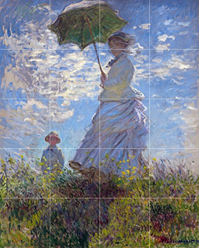 Tile Mural Woman parasol landscape by Claude Monet Kitchen Bathroom Shower Wall Backsplash Splashback 4x5 6'' Ceramic, Matte by FlekmanArt