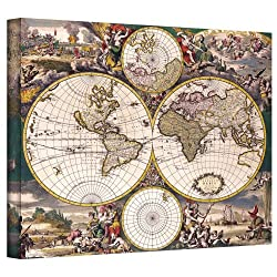 Art Wall Terrarum Orbis Antique Map Gallery Wrapped Canvas Art, 26 By 32-inch