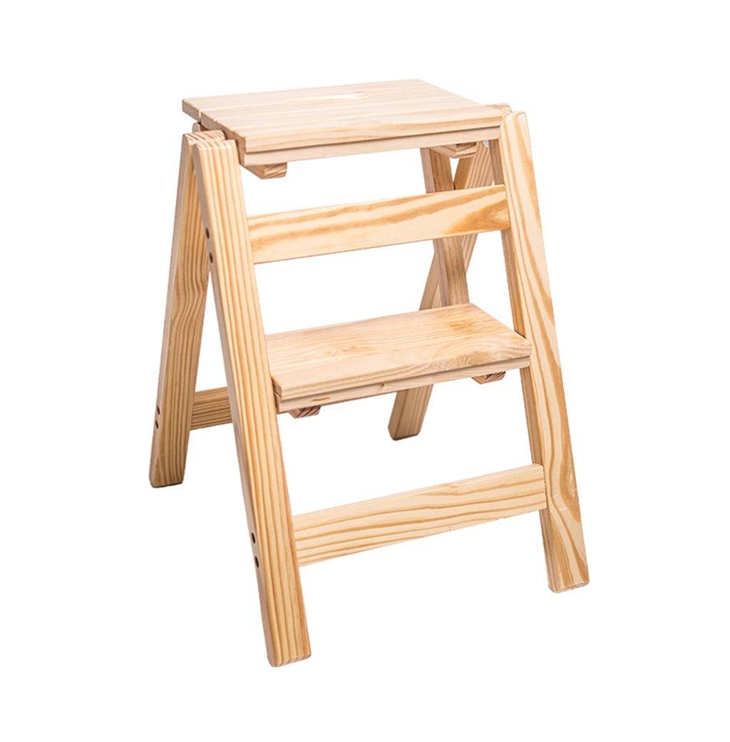 スツール 革新的な創造的な折り畳みは、ライブラリステップを折りたたむ多機能木製はしごの便器キッチンオフィス使用2つのステップではしごの椅子 - 木製の色 B07P6KVTKY