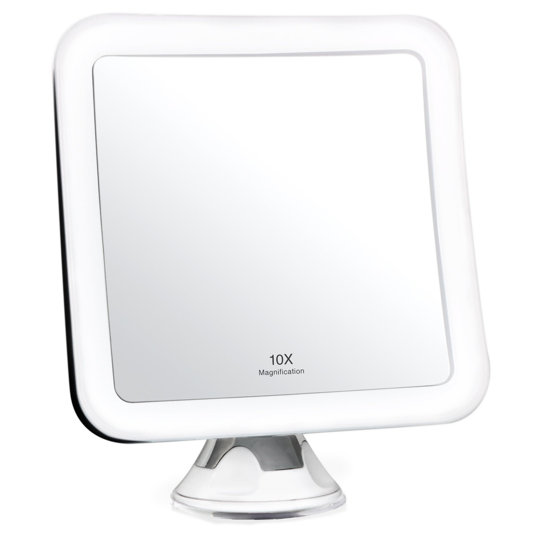 Fancii 10X Magnifying Lighted Makeup Mirror - Daylight LED Vanity Mirror - Compact, Cordless, Locking Suction, 6.5'' Wide, 360 Rotation, Portable Illuminated Bathroom Mirror (Square) by Fancii