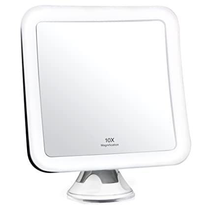 """Fancii 10X Magnifying Lighted Makeup Mirror - Daylight LED Travel Vanity Mirror - Compact, Cordless, Locking Suction, 6.5"""" Wide, 360 Rotation, Portable Illuminated Bathroom Mirror (Square)"""