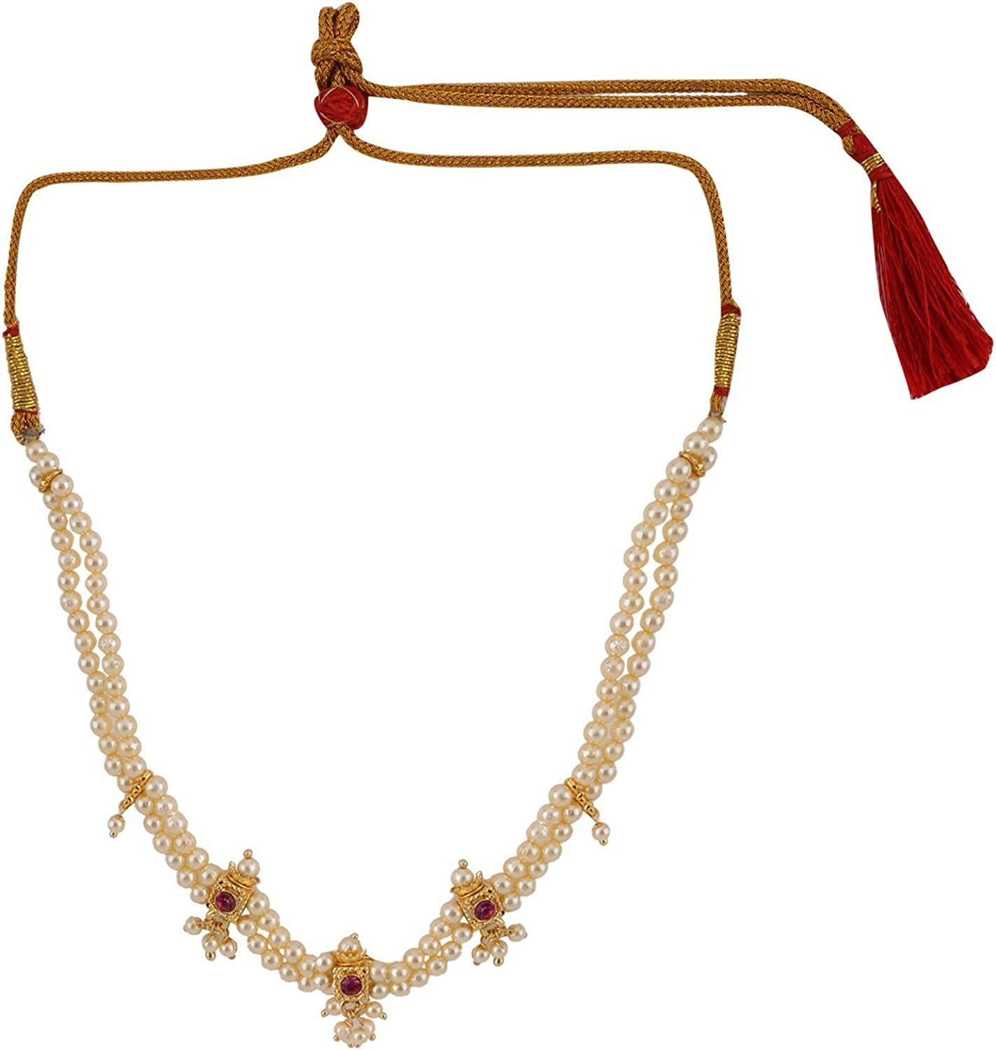 Efulgenz Indian Bollywood Traditional White Red Rhinestone Faux Ruby Pearl Designer Thusi Style Necklace in Antique 18K Gold Tone for Women and Girls