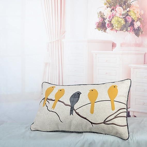 JWH- Funda de cojín de pájaros para bordar a mano, diseño de rama de ...