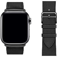 PEAK ZHANG コンパチブル Apple Watch バンド メンズ 42mm/44mm Series 5/4/3/2/1 対応 本革 交換バンド 高級 レザー ビジネス用 アップルウォッチ 牛革 (42mm/44mm,ブラック)