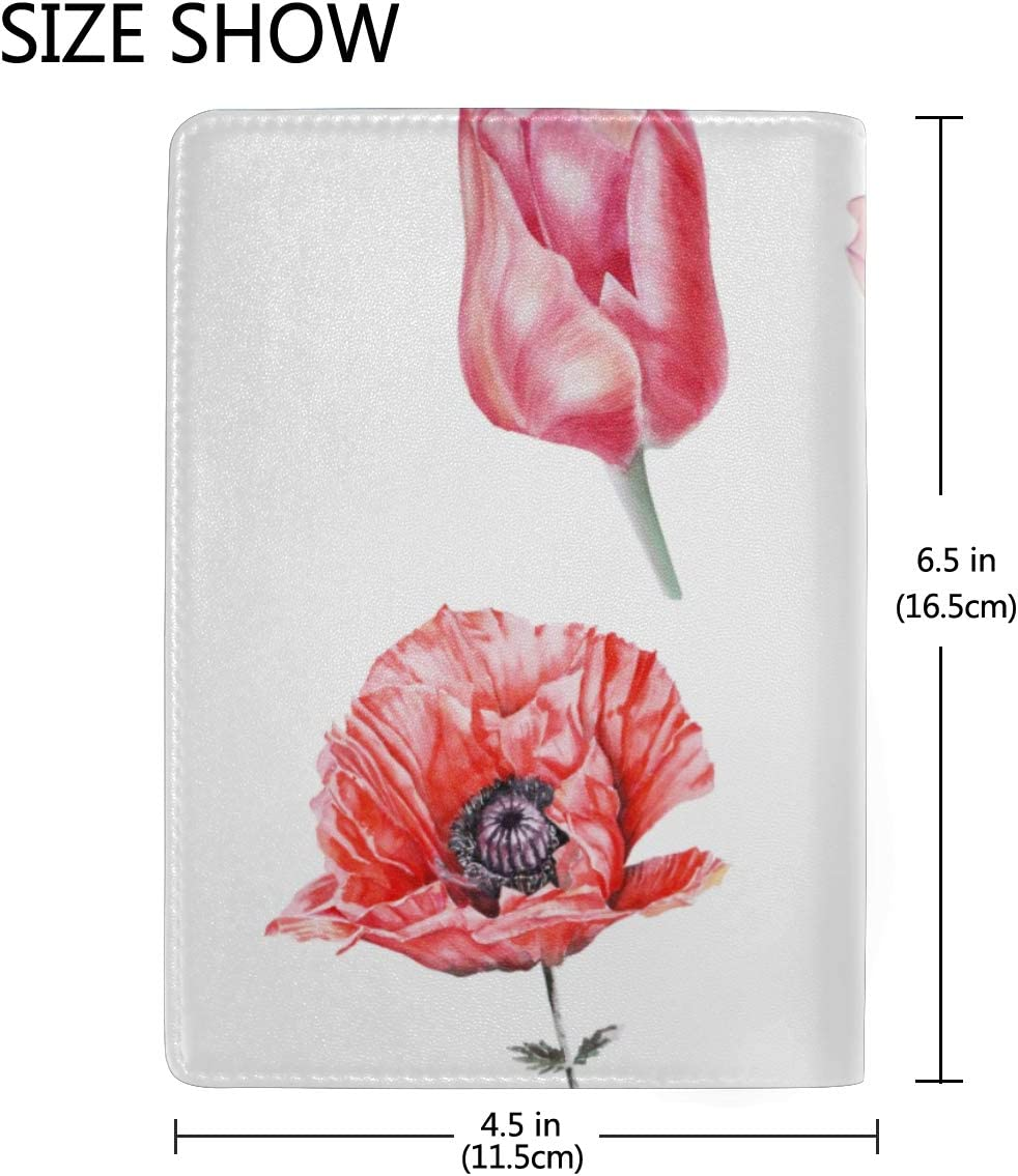 Wild Red Beautiful Poppy Flowers Blocking Print Passport Holder Cover Case Travel Luggage Passport Wallet Card Holder Made With Leather For Men Women Kids Family