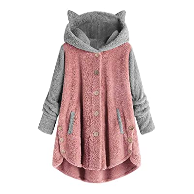 Sttech1 Womens Winter Fleece Coats, Cute Ears Hooded Jackets Single Breasted Warm Asymmetric Hem Outwear with Pockets: Clothing