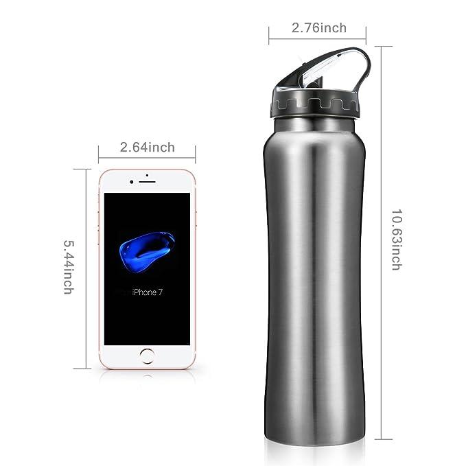 Botella Térmica, CAMTOA 550ml Termo botella, con 2 Tapas Intercambiables, 100% a Prueba de Fugas, Sin BPA, thermo botella para Viajes, Fitness, Yoga, ...