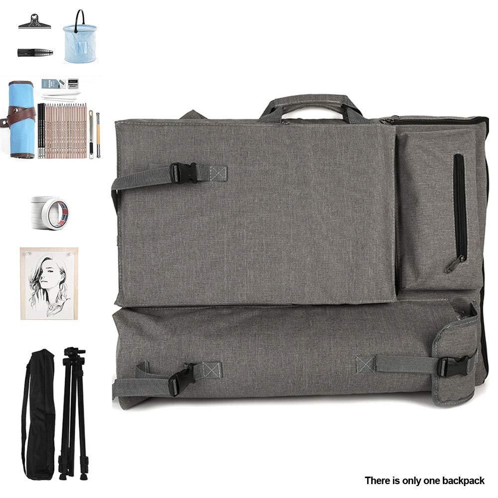 Bever888 Artist Portfolio Backpack,Canvas Artist Portfolio Carry Shoulder Bag Multifunctional Drawboard Bags Waterproof Art Carrying Case Shoulder Bag Large Drawing Boards Bag