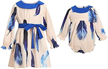 587f7e35 PopReal Girl Blue Feather Print Button up Flowing Sister Matching Dress