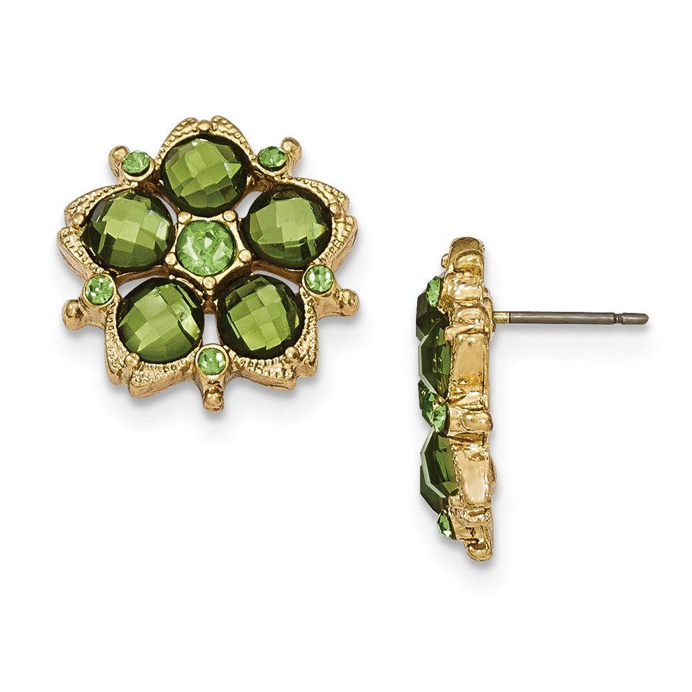 Perfect Jewelry Gift Gold-tone Green Crystal Post Earrings