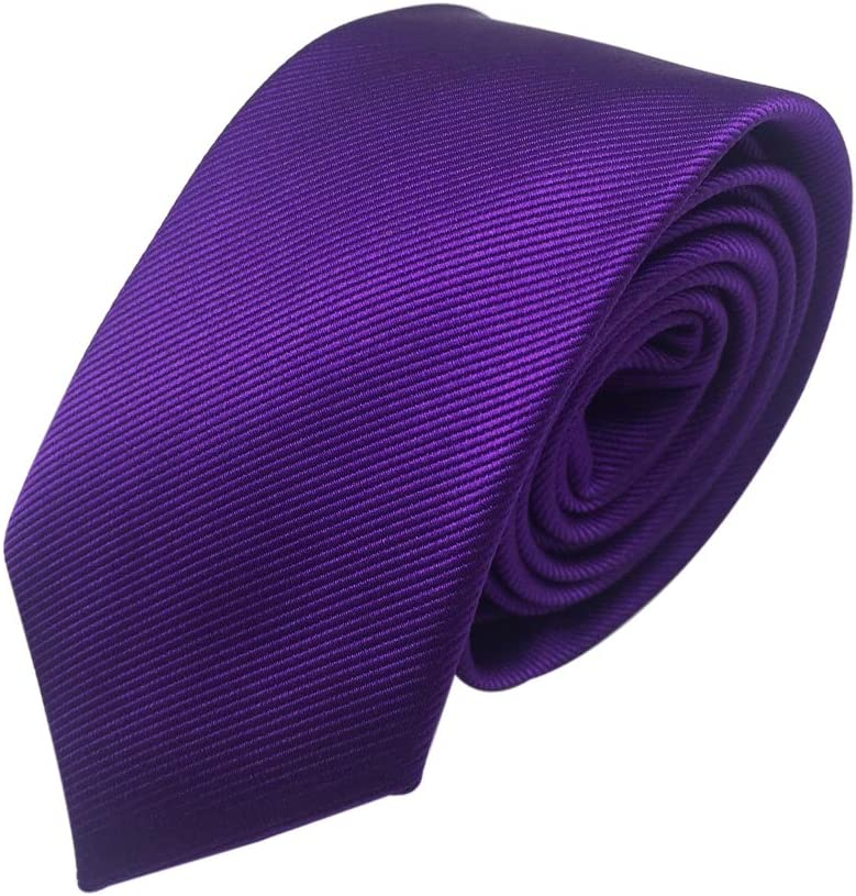 Mens Skinny Tie Necktie with Stripe Textured 6 cm Royal Blue Various Colors 2.4inches