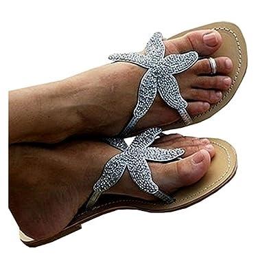 327d0616e1405 Liyuandian Flip Flops for Women Silver Flat Diamond Slipper Sandals Thong  Shoes Rhinestone Starfish Silver Size