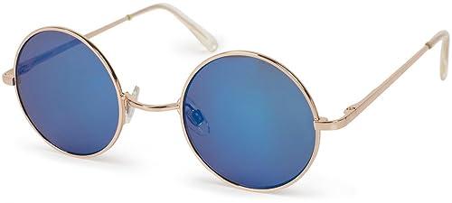 styleBREAKER gafas de sol con lentes redondas y montura delgada de plástico, patillas con bisagra de...