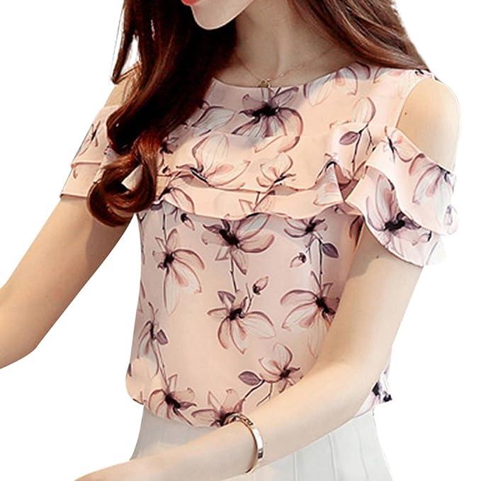 Yuxin Mujer Camiseta Floral - Moda Manga Corta Fuera del Hombro Blusa con Volantes Elegante Casual Verano Básica Camisetas Camisas Tops S-2XL: Amazon.es: ...